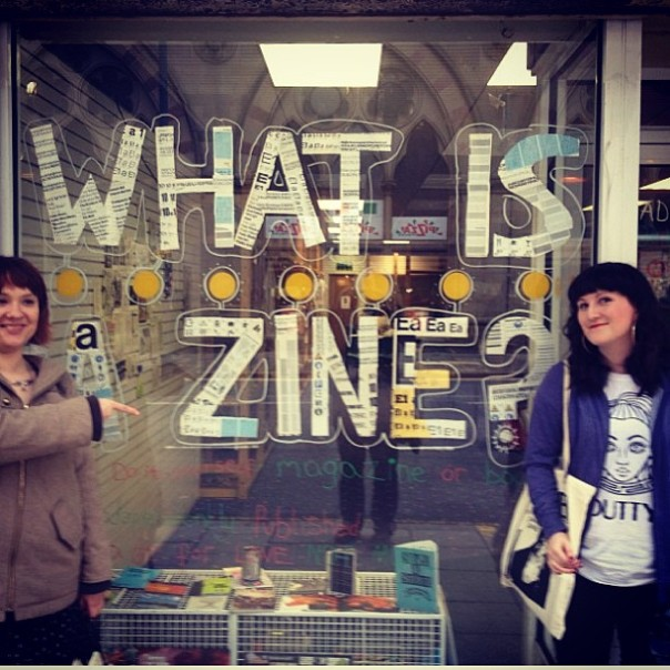 Rachel Kaye and Em Ledger outside Bradford Baked Zines before their per-zine talk, Saturday 18th May